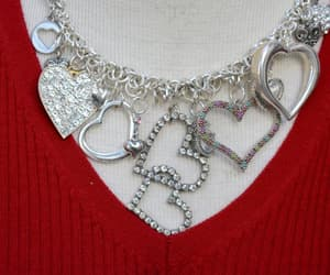Valentine's Day Heart Necklace with Vintage Charms OOAK