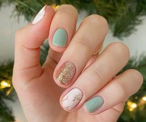 nails, glitter nails, and gold nails image