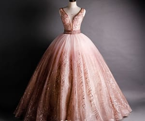 girl, long dress, and pink dress image