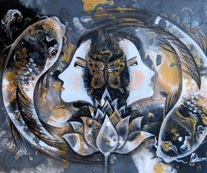goddess, koi fish, and lotus pond image