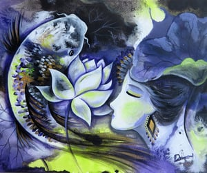 koi fish and lotus goddess image