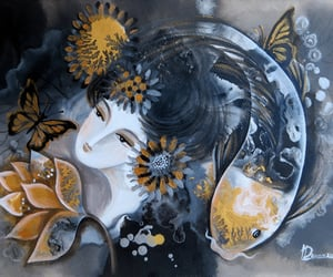 butterfly, koi fish, and lotus goddess image