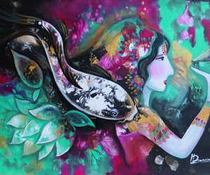 dragonfly, koi fish, and lotus goddess image
