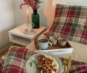 bedroom, breakfast, and cozy image