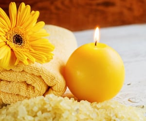 candle, spa, and yellow image