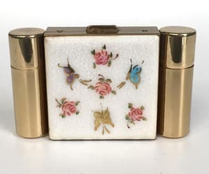 Vintage Compact Compact Enamel with Perfume and Lipstick image 0