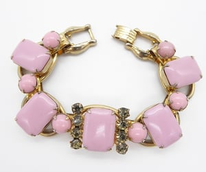 Unsigned Schaur Pink Cab Bracelet with Smokey Rhinestone Accent, Vintage 1950s Mid Century Jewelry
