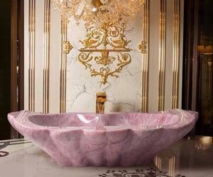 luxury, pink, and bathroom image