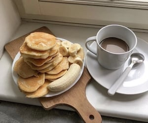 food, pancakes, and coffee image