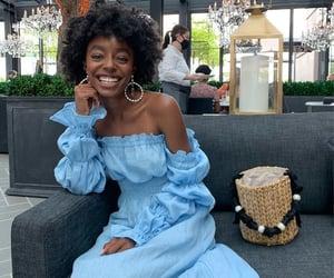 black women, blue dress, and calm image