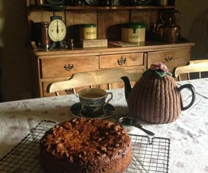 cake, tea, and vintage image