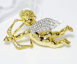 Cupid Trembler Pin Gold Tone Clear Rhinestones Trembling Wings image 0