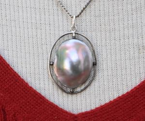 Shimmering Shell Pearl in Sterling Silver Setting with Sterling Chain Vintage
