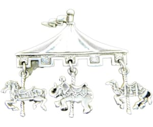 Sterling Silver Carousel Brooch with Dangle Charms of a Horse image 0