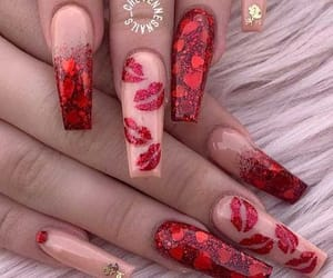 valentines day, valentines day nails, and pink valentines day nails image