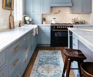 interior design, kitchen, and blue image