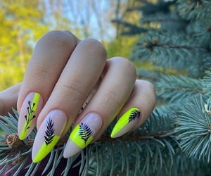 leafs, nails, and neon image