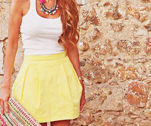 fashion, skirt, and yellow image
