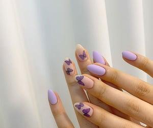 beauty, nail art, and purple image