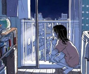 女の子, 夜, and イラスト image