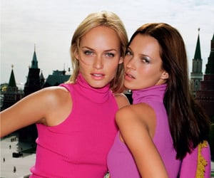 Amber Valletta, pink, and kate moss image