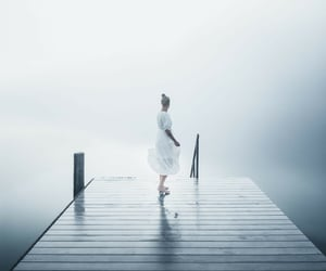 foggy, pier, and eater image