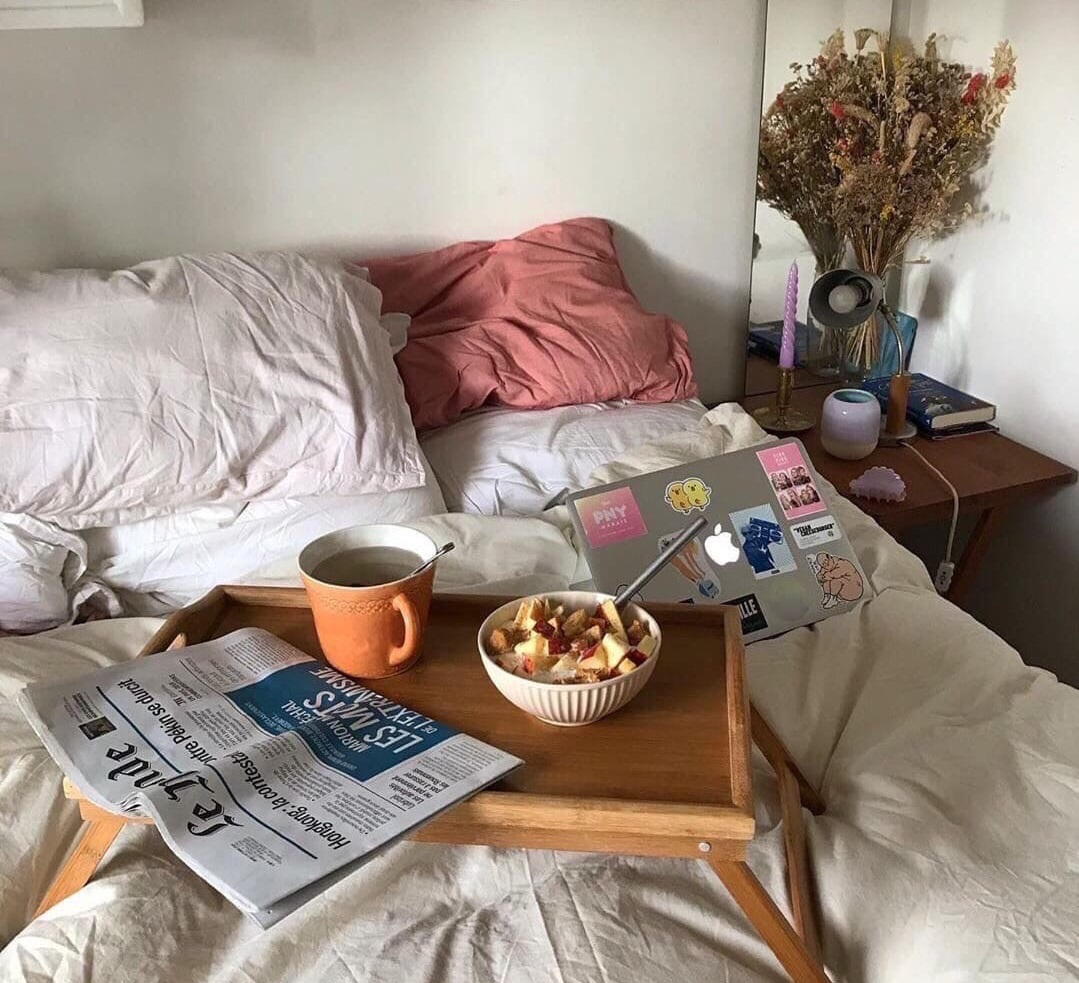 bedroom, home, and morning image