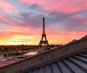 paris, sunset, and pink image