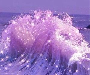 purple, waves, and sea image