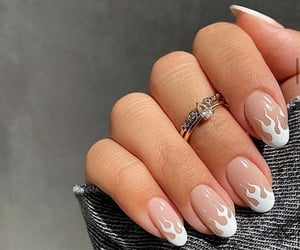 beige, nail art, and fire image