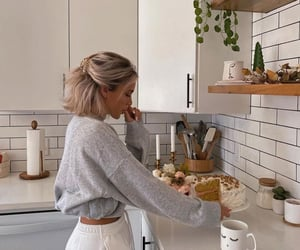 girl, kitchen, and cake image