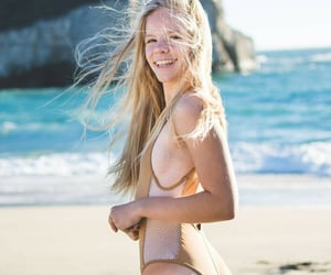 beach, blonde, and girl in the beach image