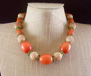 Amber Bakelite Beaded Necklace Art Deco Clay Beads Green image 0