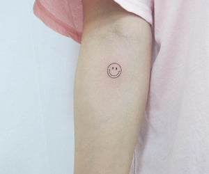 pink, smile, and tattoo image