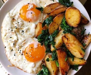 food, potato, and eggs image