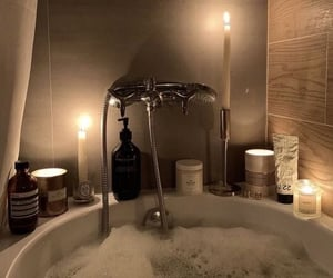 bath, candle, and aesthetic image