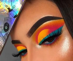 beauty, eye makeup, and colorful image