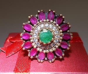 Ruby & Emerald Flower Ring Sterling Silver 925 Round Shape image 0