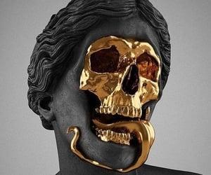 art, gold, and skulls image