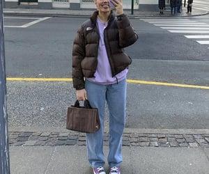purple sweater, street style, and streetwear image