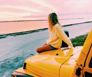 beach, cars, and yellow image