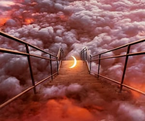 cloudy, magical, and stairs image
