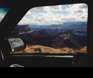 mountains, car, and nature image