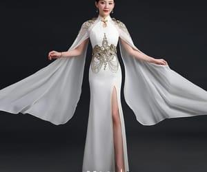 girl, high neck dress, and qipao image