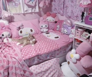 cat, my melody, and pink image