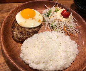 burger, rice, and vegetables image