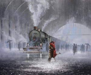 locomotive, art, and rain image
