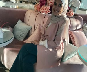 fashion, pink jacket, and hijab fashion image