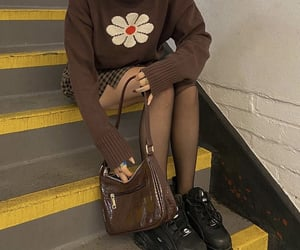 black shoes, everyday look, and brown sweater image