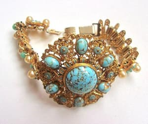 Czech Turquoise Art Glass Bracelet Victorian Revival Brass image 0